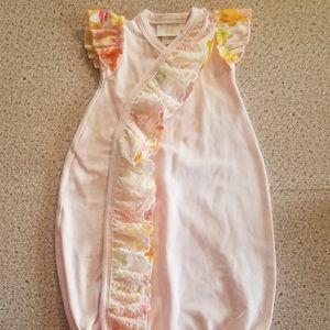 Haute Baby Gown pink Ruffles orange yellow snaps